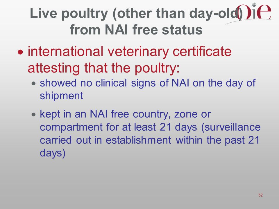 Live poultry (other than day-old) from NAI free status