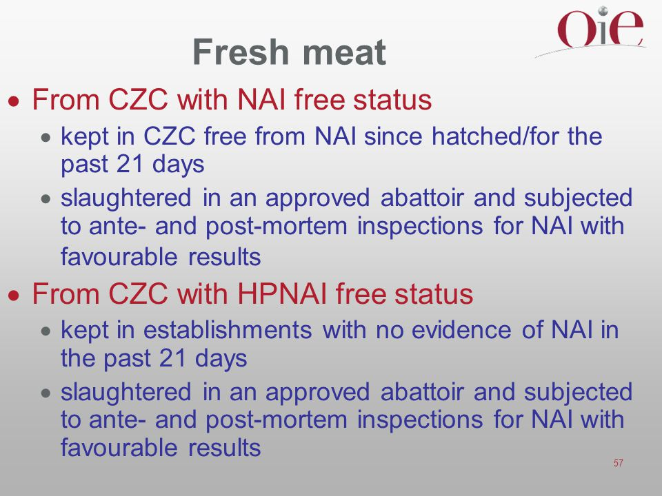 Fresh meat From CZC with NAI free status