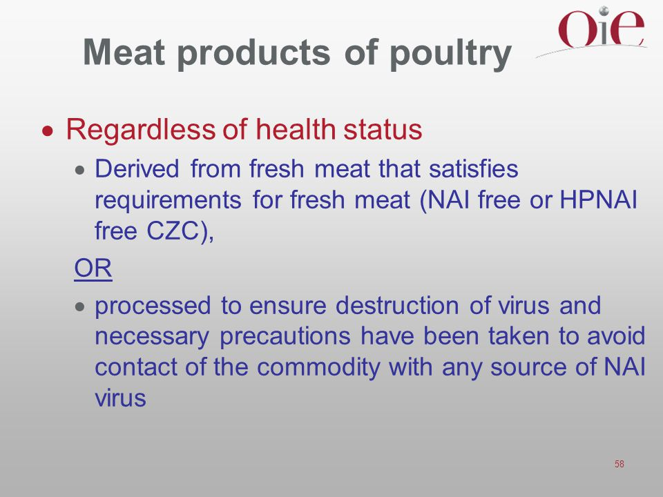 Meat products of poultry