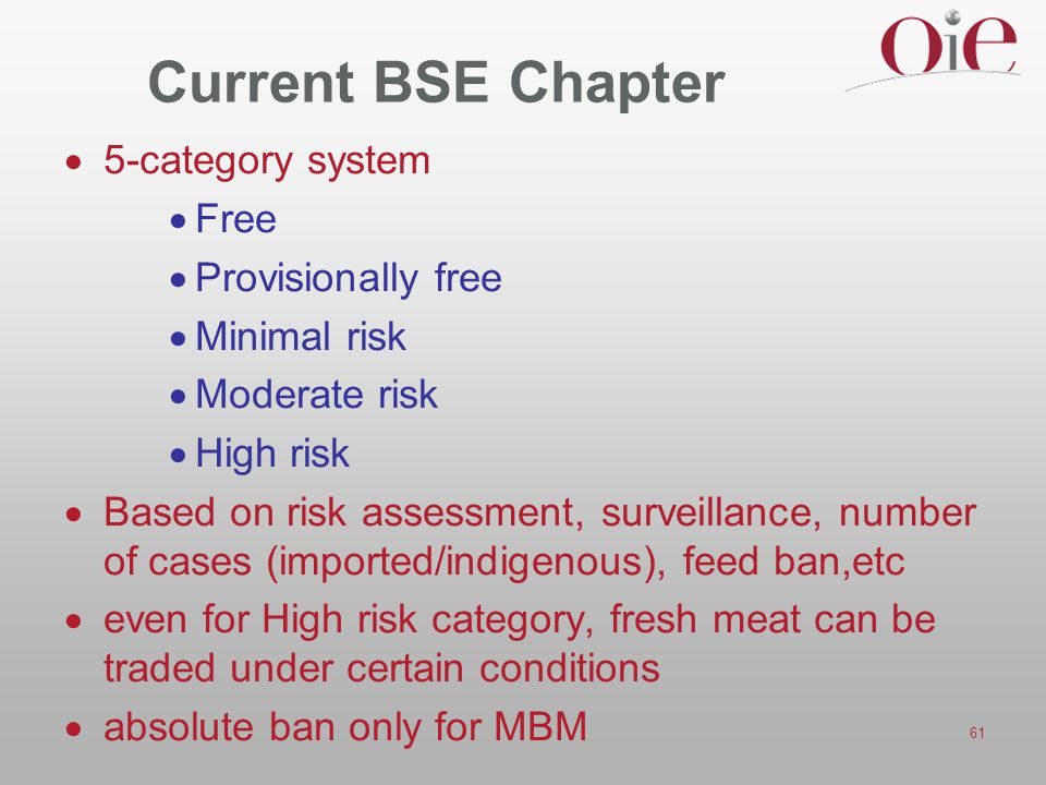 Current BSE Chapter 5-category system Free Provisionally free
