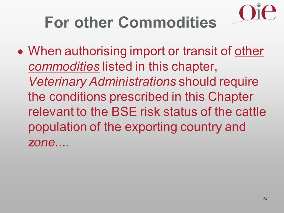For other Commodities