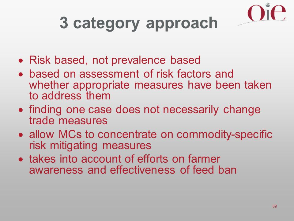 3 category approach Risk based, not prevalence based