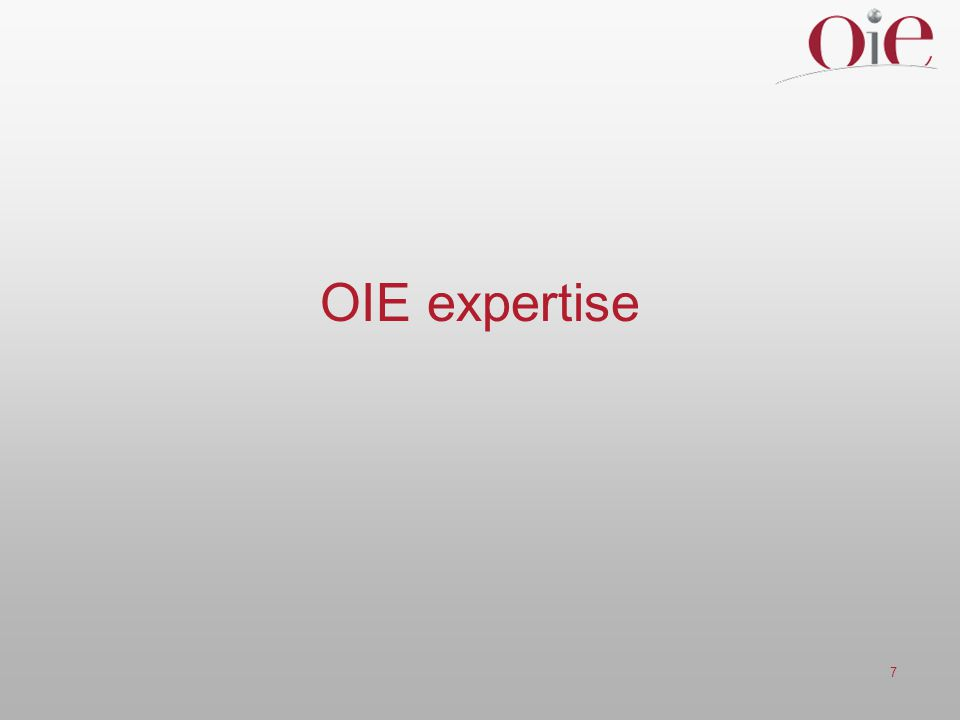 OIE expertise
