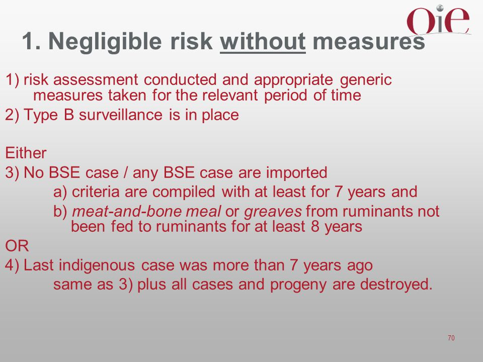 1. Negligible risk without measures