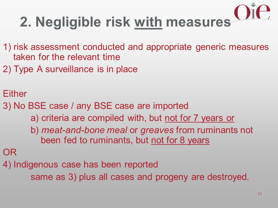 2. Negligible risk with measures