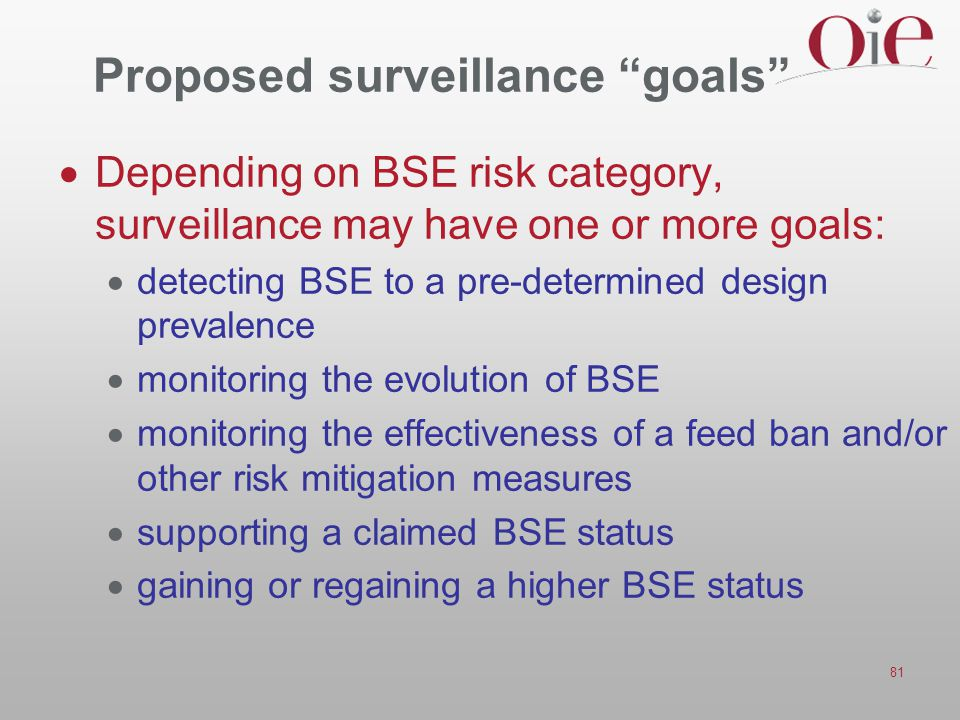 Proposed surveillance goals