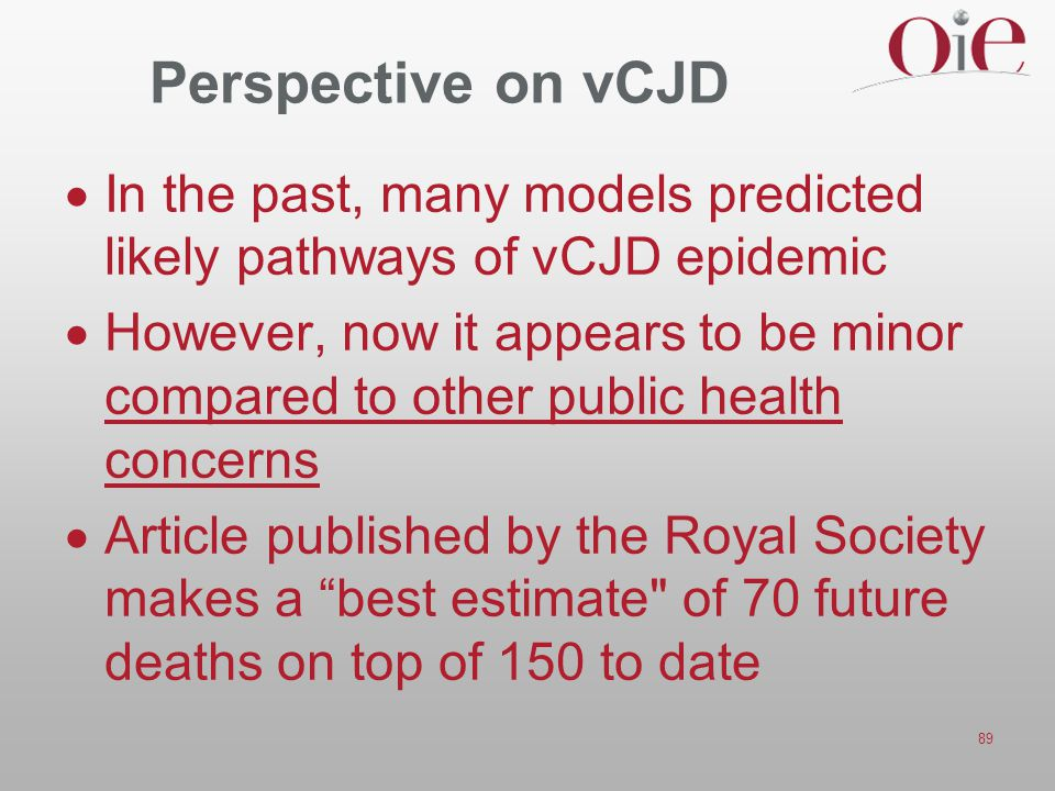 Perspective on vCJD In the past, many models predicted likely pathways of vCJD epidemic.