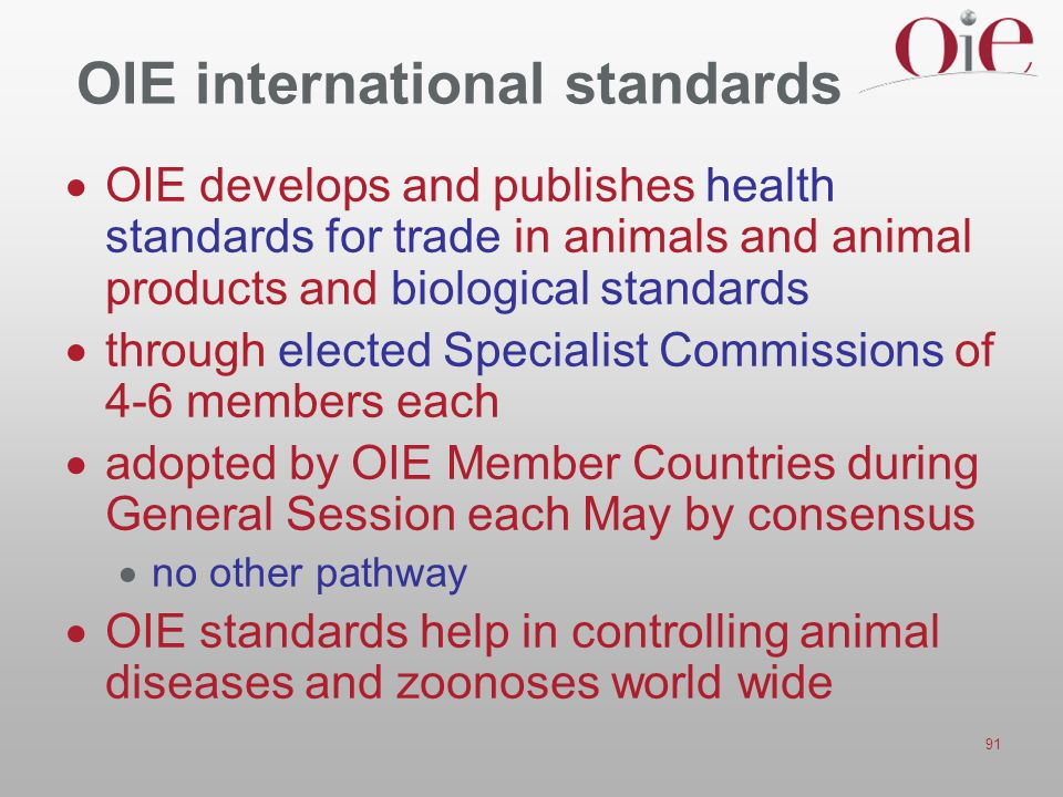 OIE international standards