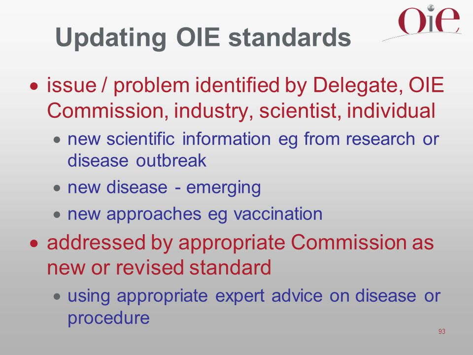 Updating OIE standards