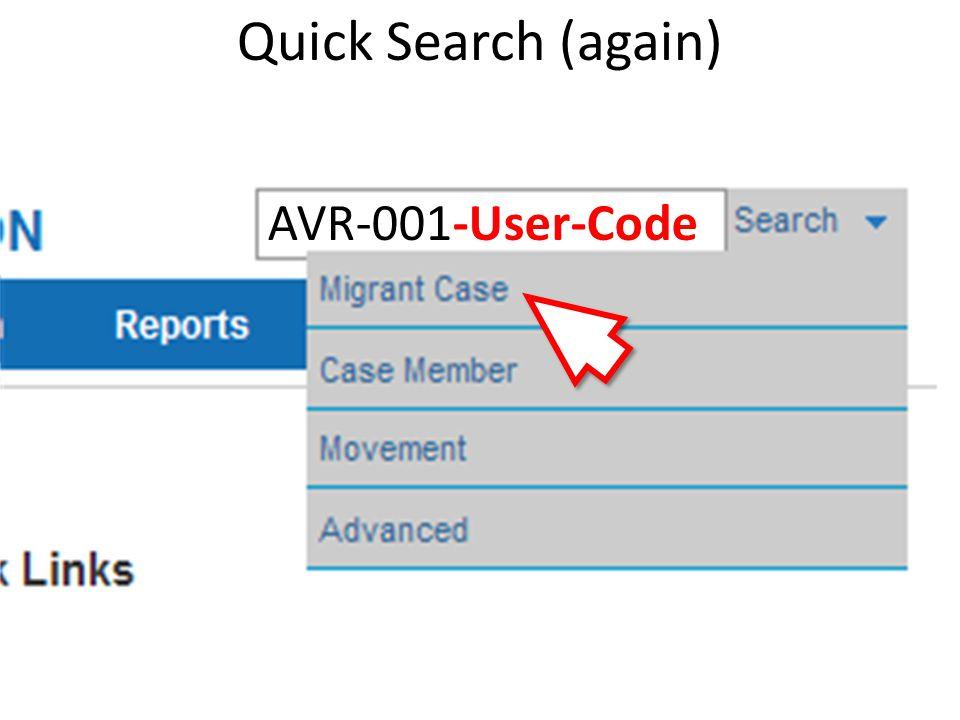 Quick Search (again) AVR-001-User-Code