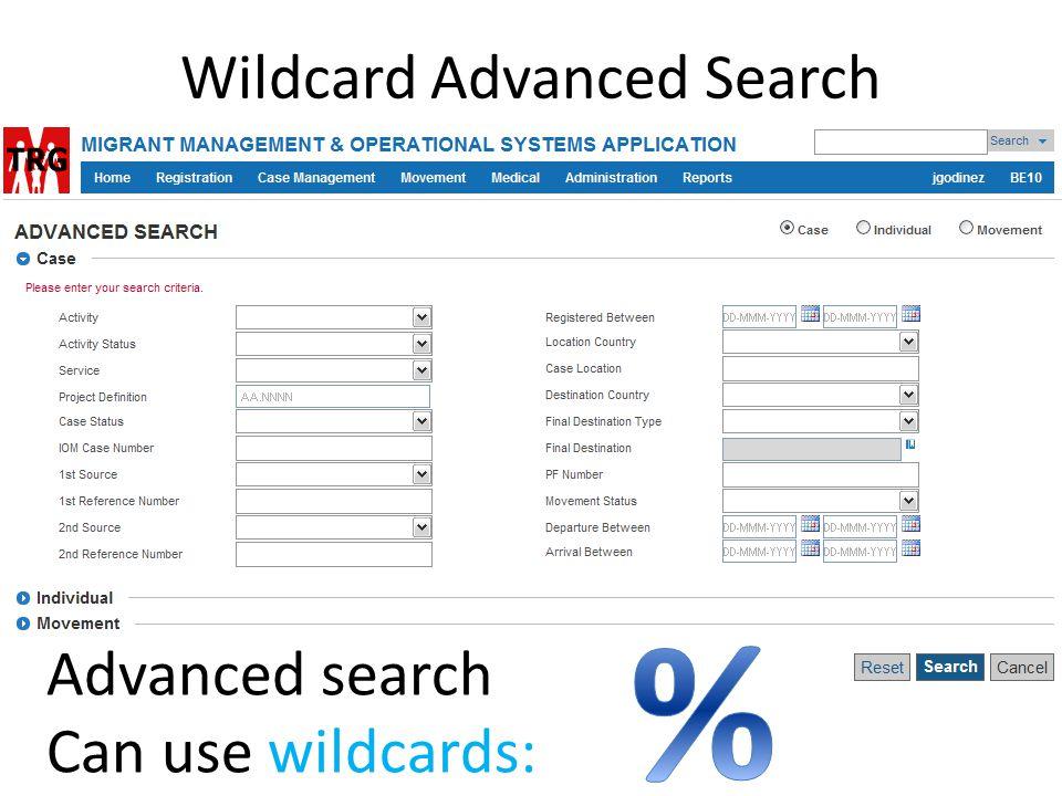 Wildcard Advanced Search