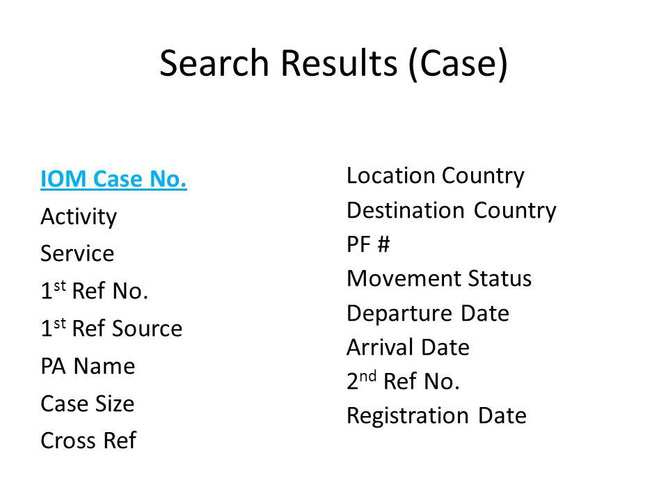 Search Results (Case) IOM Case No. Activity Service 1st Ref No. 1st Ref Source PA Name Case Size Cross Ref