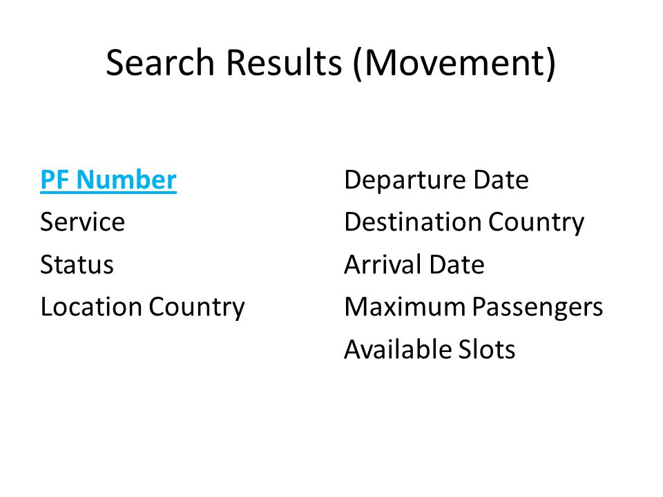 Search Results (Movement)