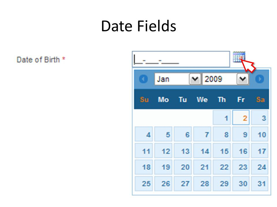 Date Fields To select a date from Date Picker: