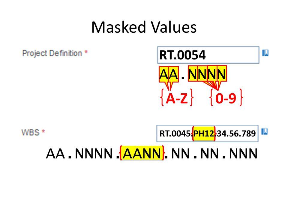 Masked Values AA.NNNN A-Z 0-9 AA.NNNN.AANN.NN.NN.NNN