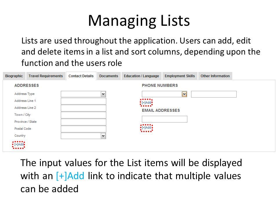 Managing Lists