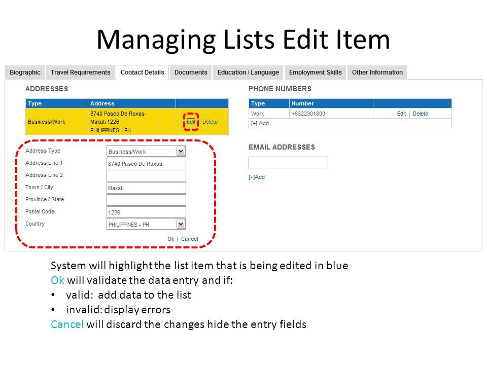 Managing Lists Edit Item
