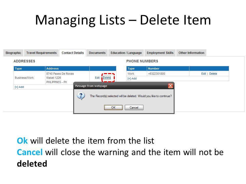 Managing Lists – Delete Item