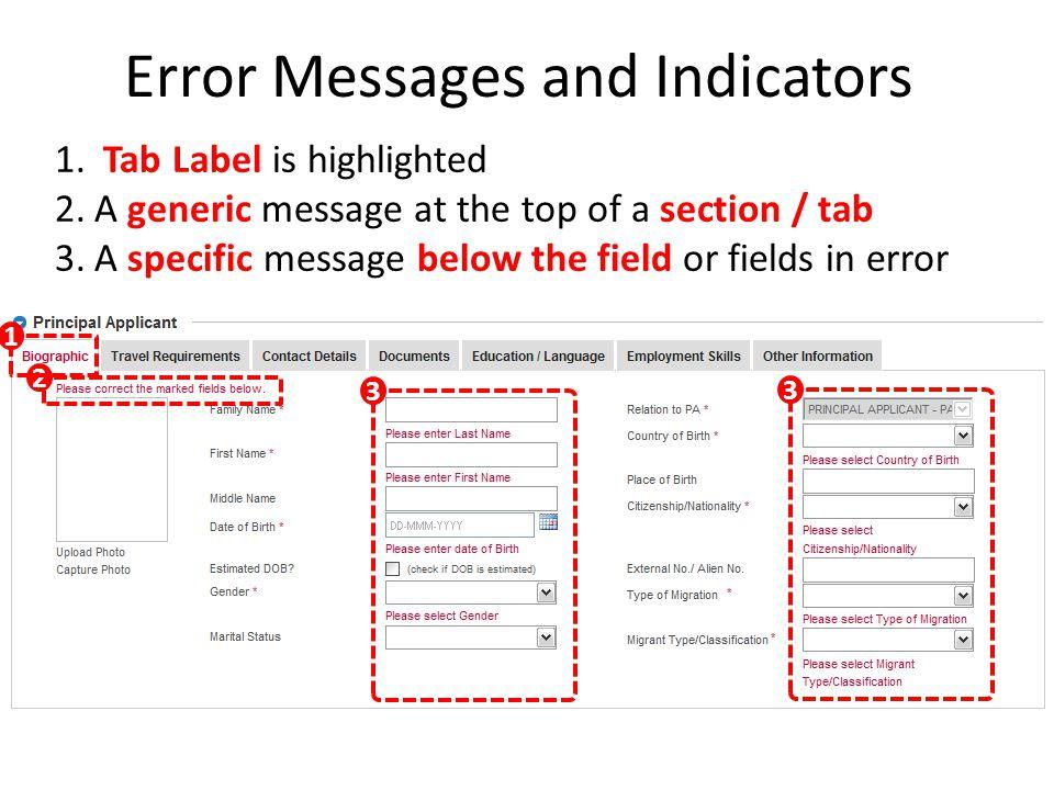 Error Messages and Indicators