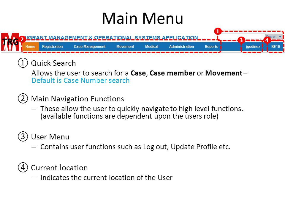 Main Menu ① Quick Search ② Main Navigation Functions ③ User Menu