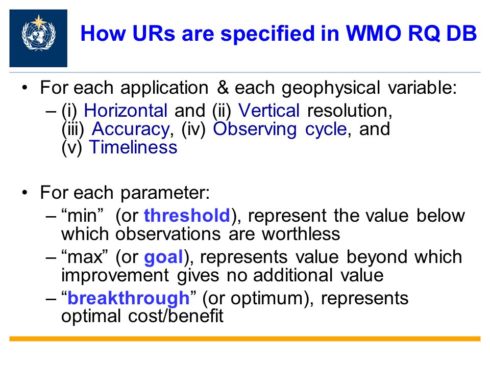 How URs are specified in WMO RQ DB