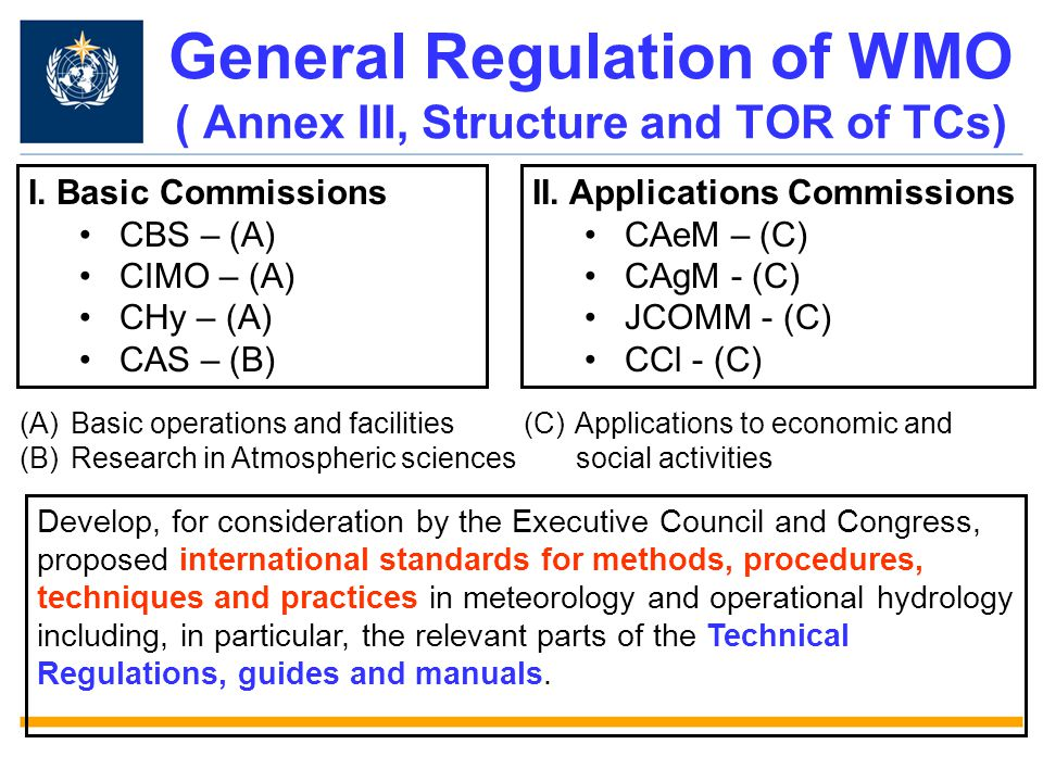 General Regulation of WMO ( Annex III, Structure and TOR of TCs)