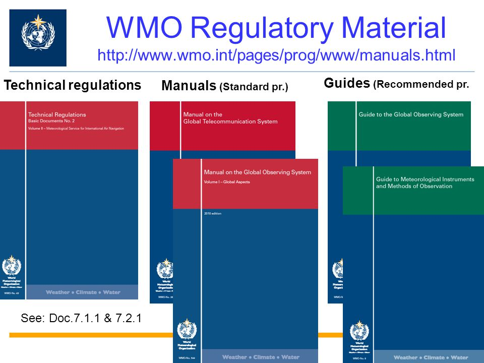 WMO Regulatory Material http://www.wmo.int/pages/prog/www/manuals.html