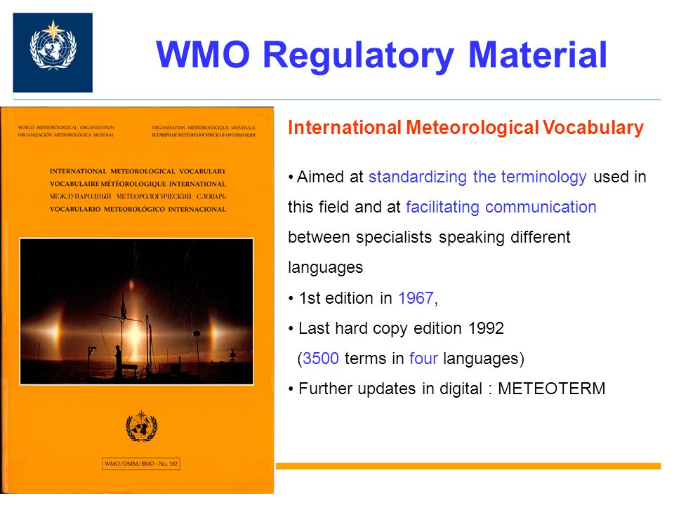 WMO Regulatory Material
