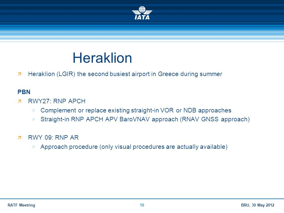 Heraklion Heraklion (LGIR) the second busiest airport in Greece during summer. PBN. RWY27: RNP APCH.
