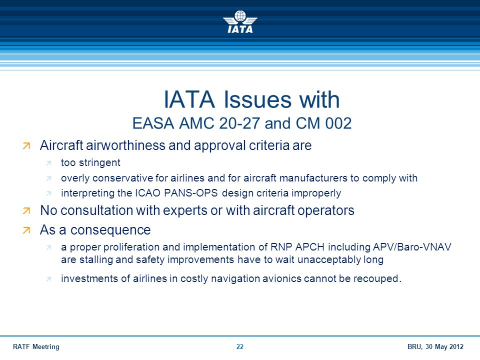 IATA Issues with EASA AMC and CM 002