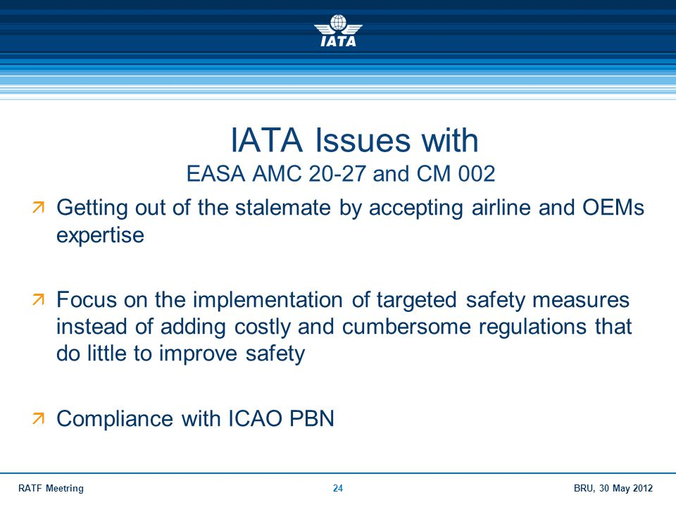 IATA Issues with EASA AMC 20-27 and CM 002