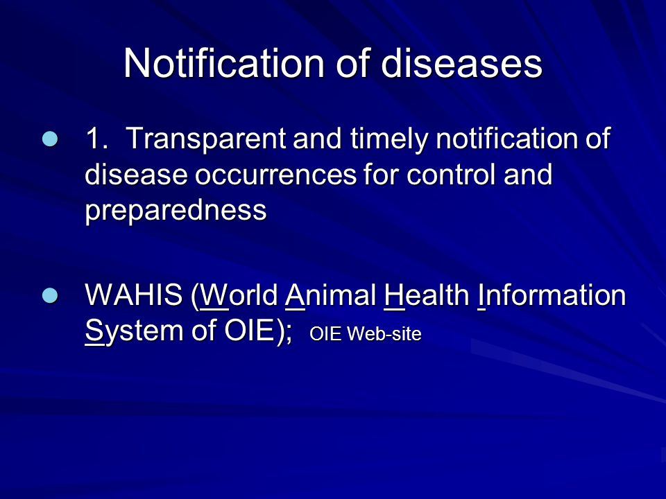 Notification of diseases