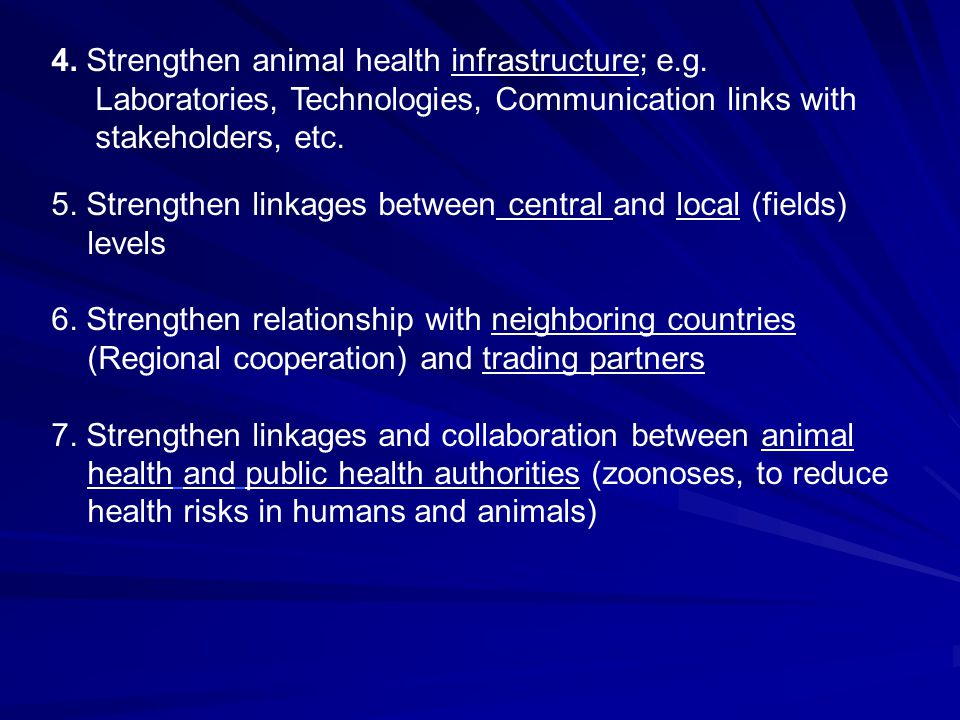 4. Strengthen animal health infrastructure; e.g.