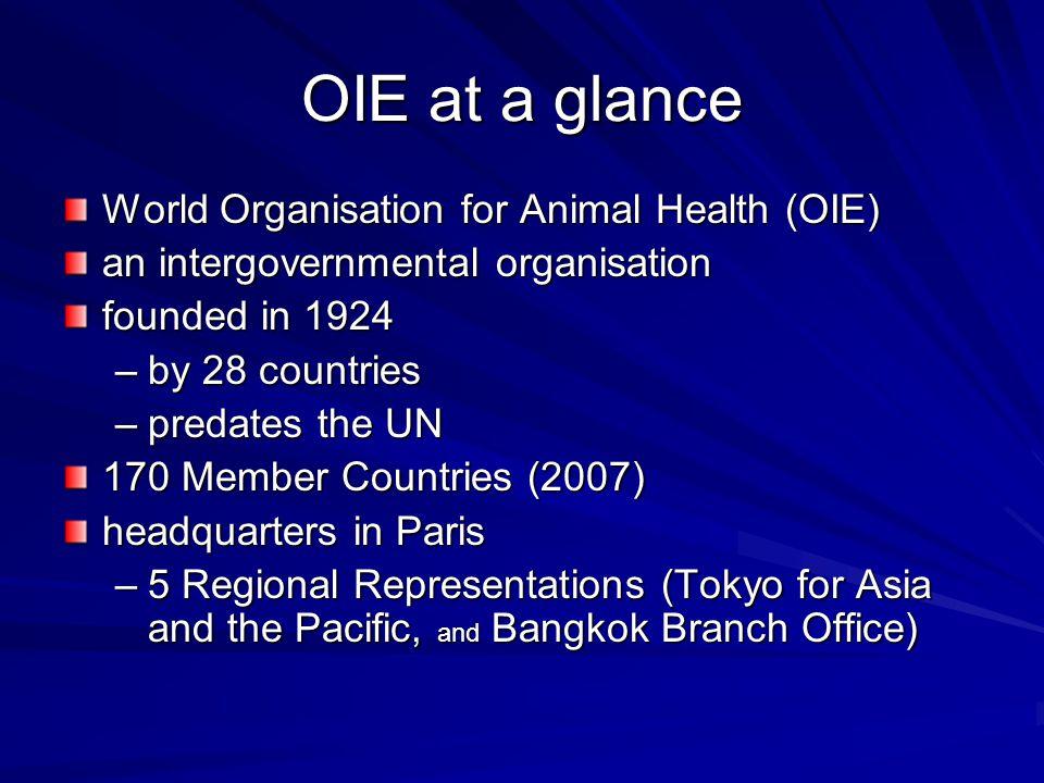OIE at a glance World Organisation for Animal Health (OIE)