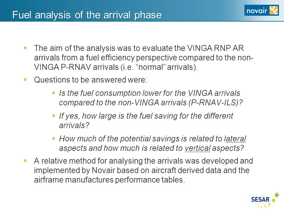 Fuel analysis of the arrival phase