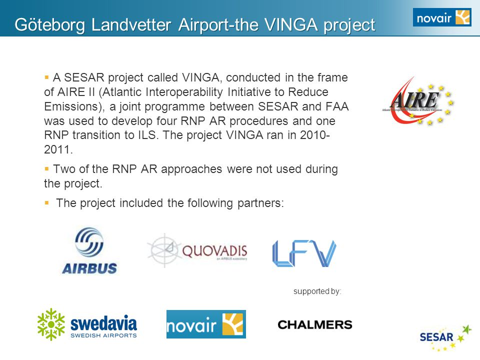 Göteborg Landvetter Airport-the VINGA project