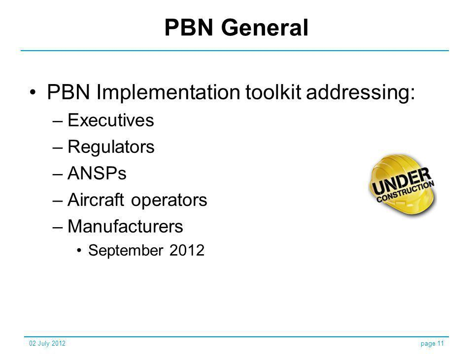 PBN General PBN Implementation toolkit addressing: Executives