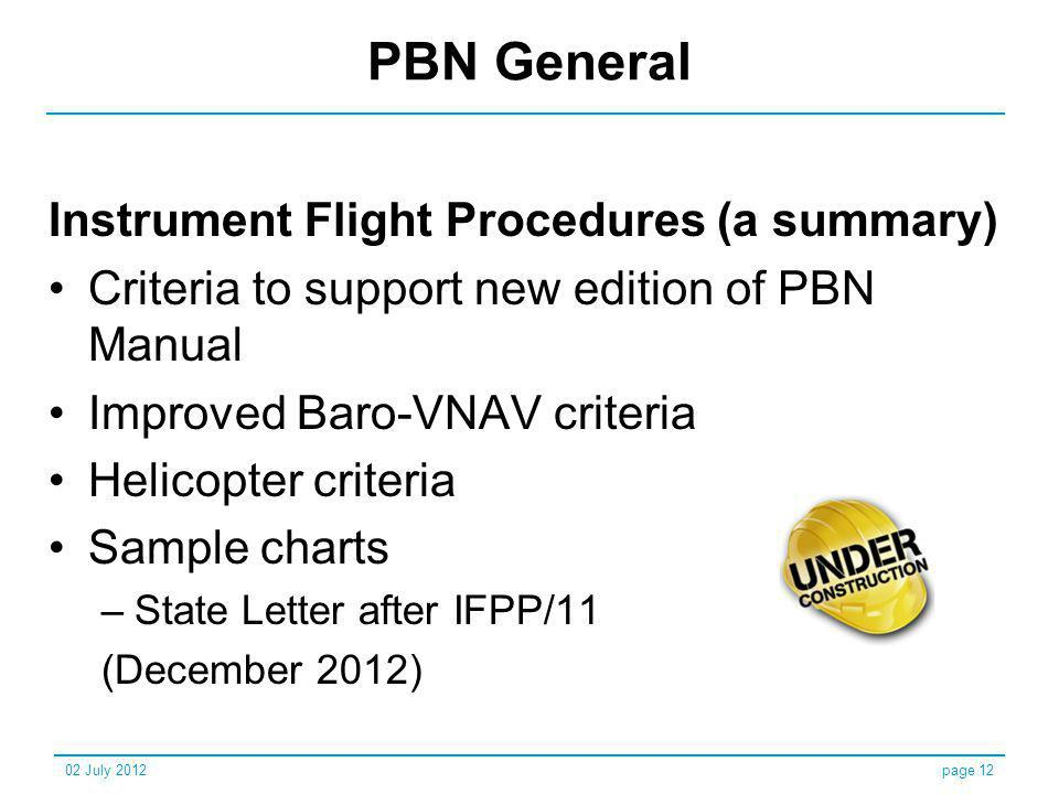 PBN General Instrument Flight Procedures (a summary)