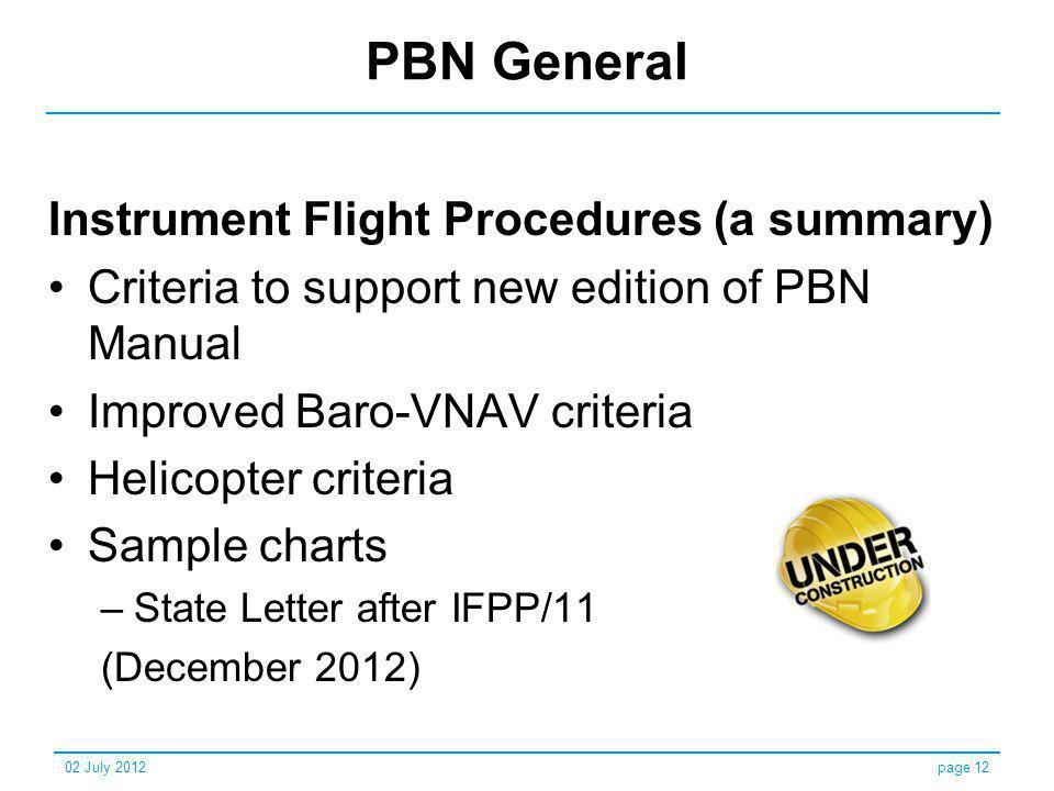 PBN General Instrument Flight Procedures (a summary)