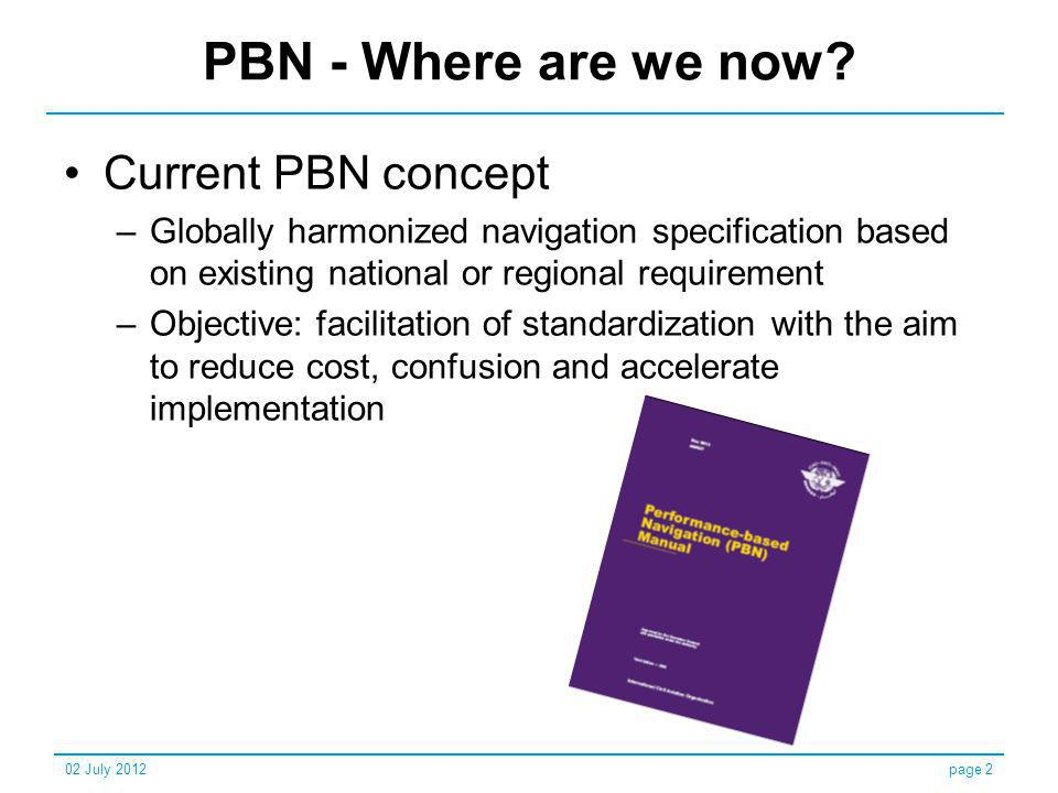 PBN - Where are we now Current PBN concept