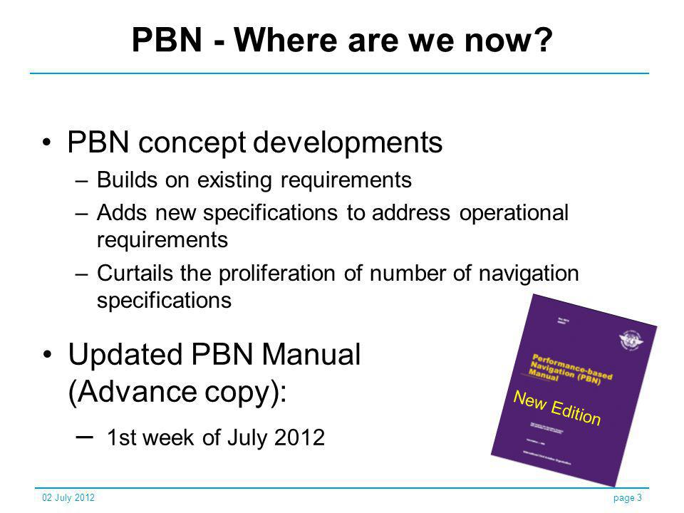 PBN - Where are we now PBN concept developments