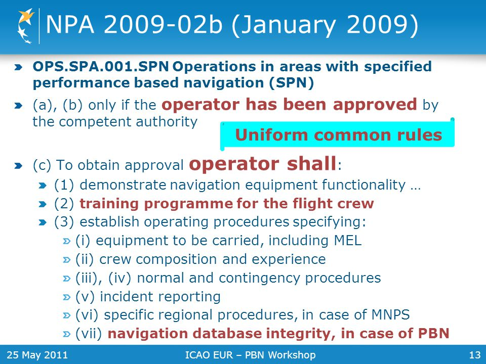 NPA 2009-02b (January 2009) Uniform common rules