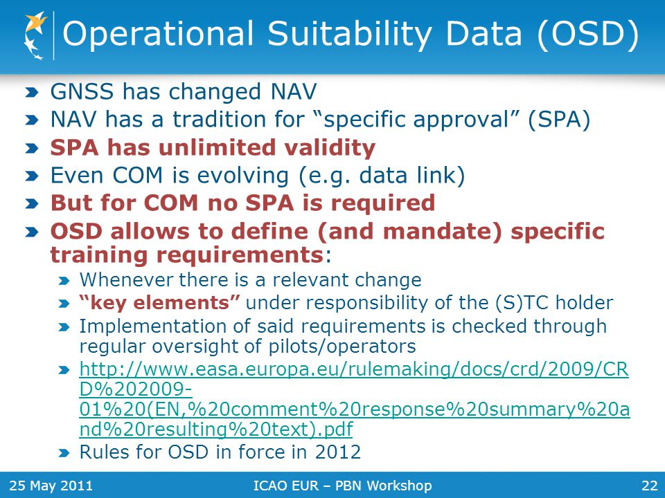 Operational Suitability Data (OSD)
