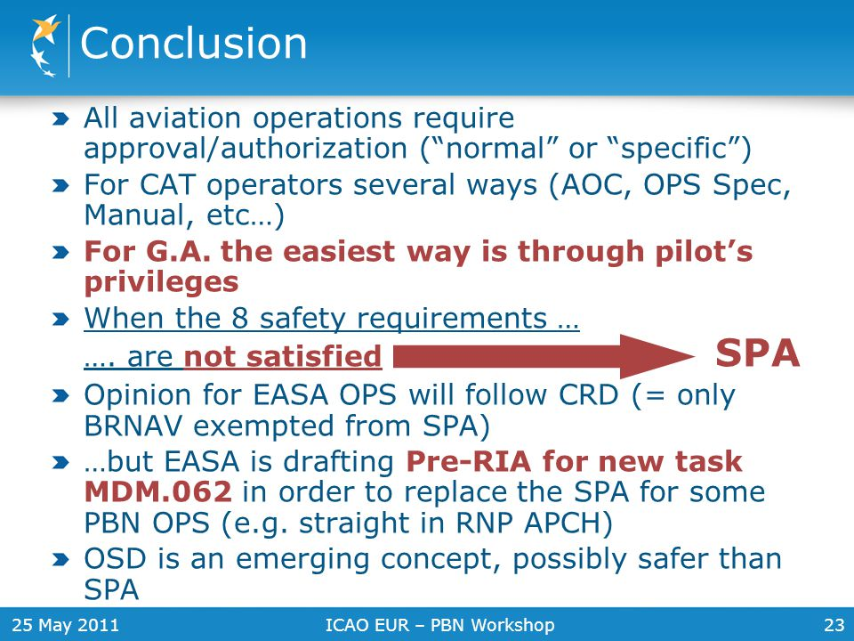 Conclusion All aviation operations require approval/authorization ( normal or specific )