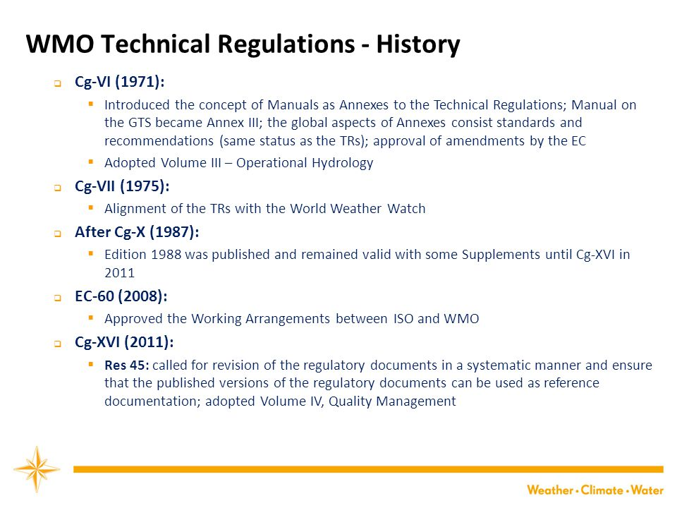 WMO Technical Regulations - History