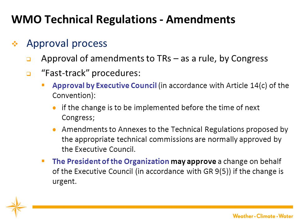 WMO Technical Regulations - Amendments