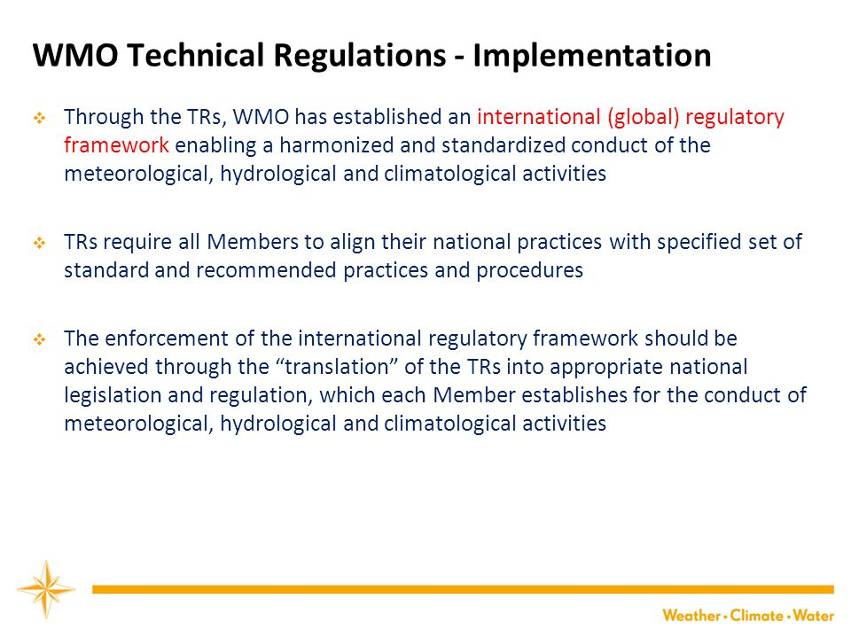 WMO Technical Regulations - Implementation