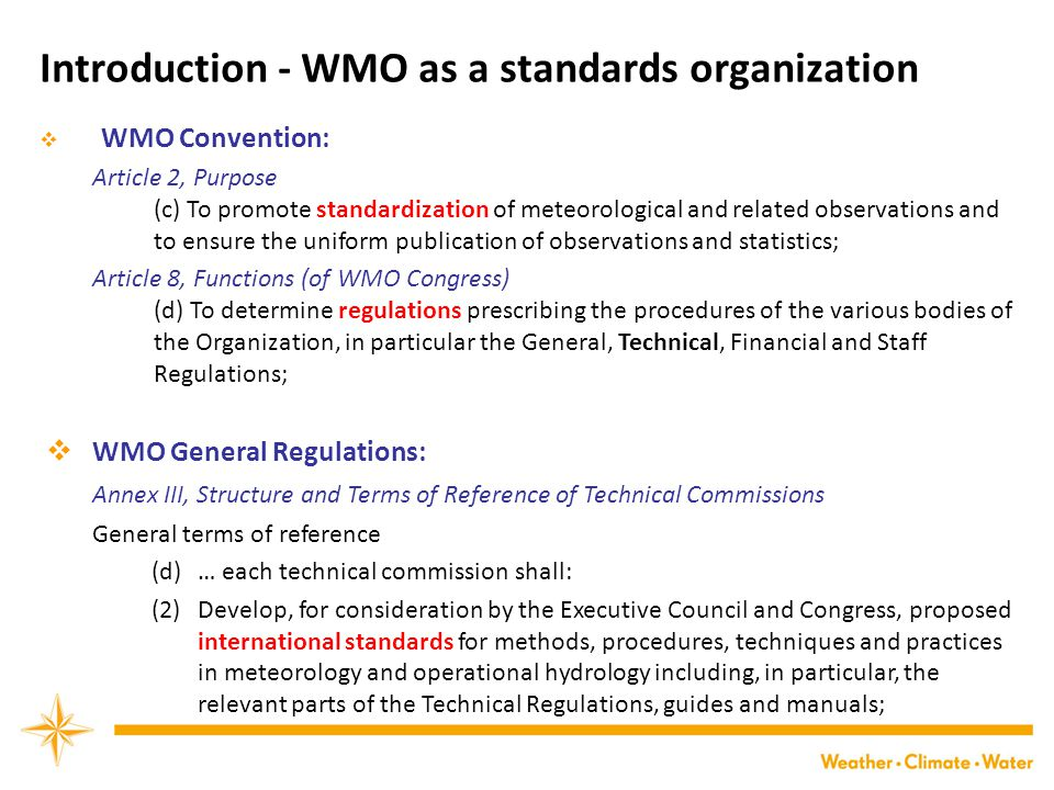 Introduction - WMO as a standards organization