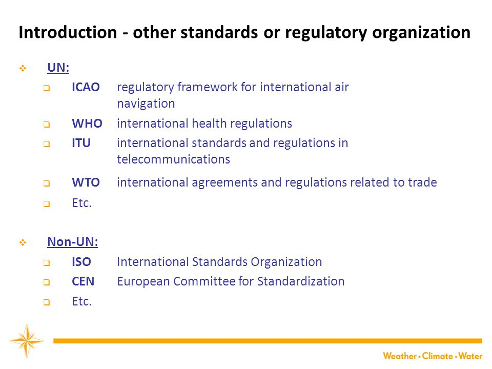 Introduction - other standards or regulatory organization