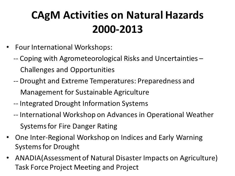 CAgM Activities on Natural Hazards
